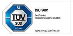 Prüfzeichen TÜV SÜD - ISO 9001